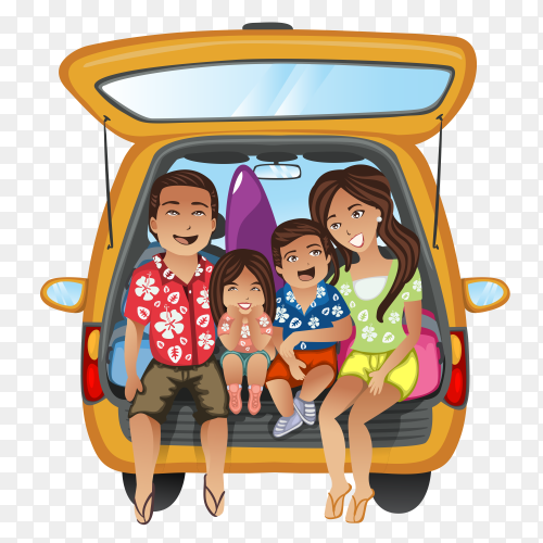 Happy family on trip on transparent background PNG