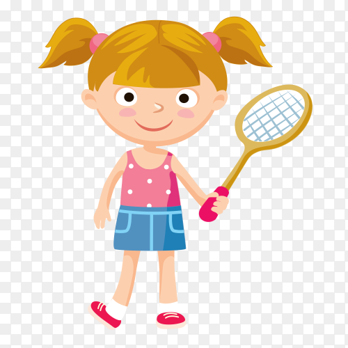 Happy girl holding Basketball racket on transparent background PNG