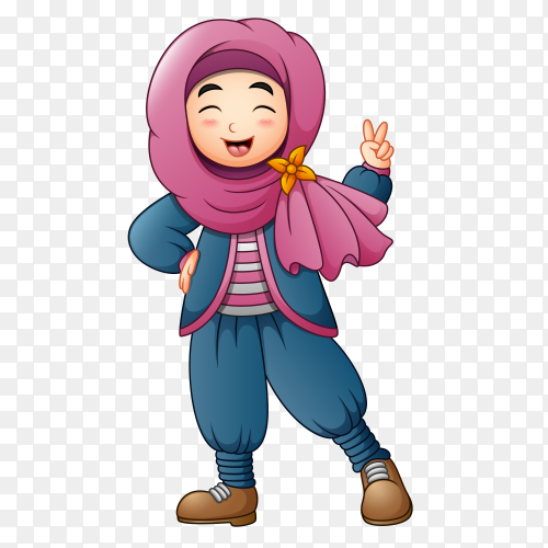 Happy muslim girl with hijab Clipart PNG