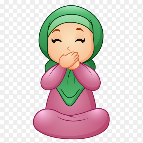 Happy muslim woman with Hijab Premium vector PNG