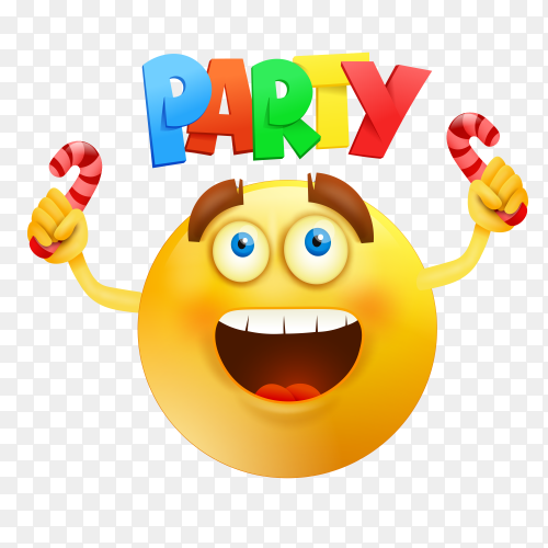 Happy smiley emoji round face with Party invitation card Clipart PNG