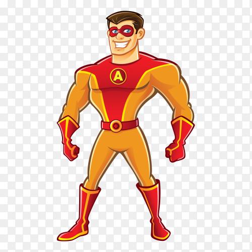 Happy super hero cartoon on transparent background PNG