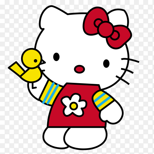 Hello Kitty Cartoon on transparent background PNG