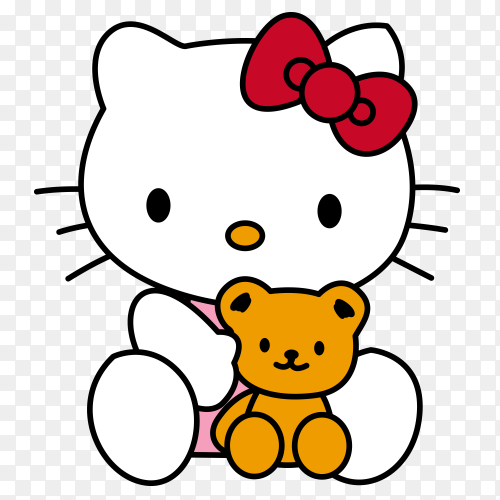 Hello kitty cartoon with toy on transparent background PNG