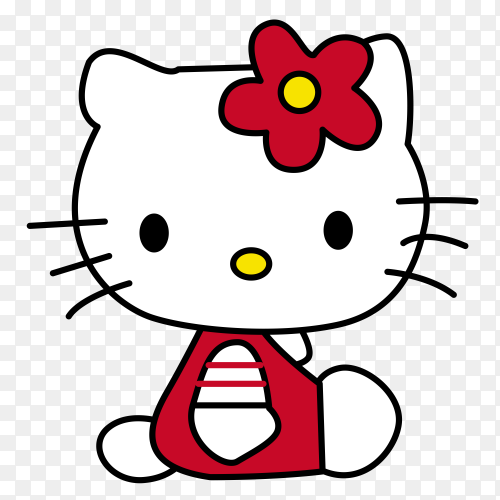 Hello kitty with red dress on transparent background PNG