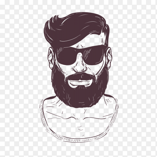 Hipster with beard moustage and sunglasses on transparent background PNG