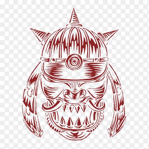 Horned Samurai Warrior War with helmet on transparent background PNG