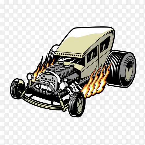 Hot rod car on transparent background PNG