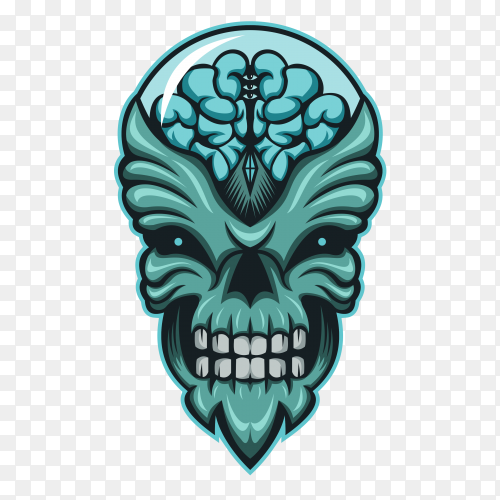 Human Skull with brain inside glass on transparent background PNG