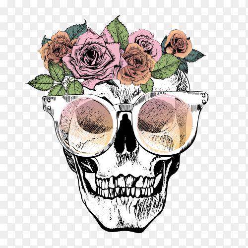 Human skull with floral crown and sunglasses on transparent background PNG