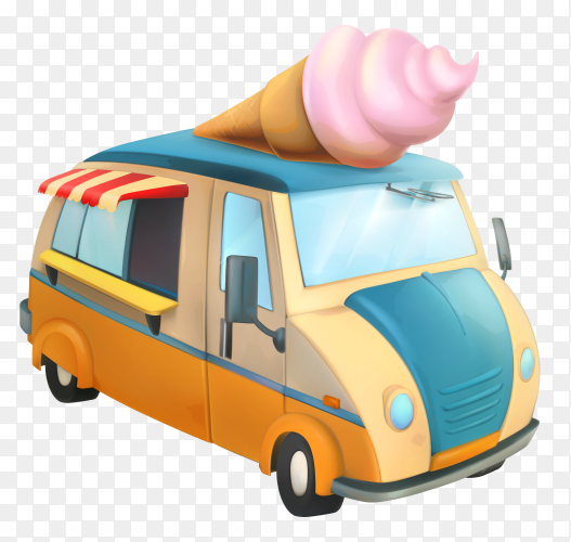 Ice cream stand vehicle on transparent background PNG