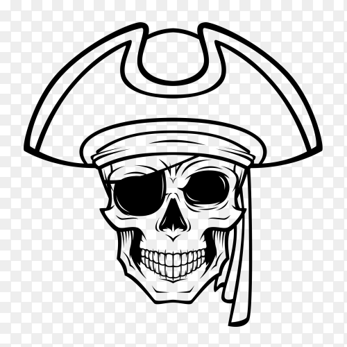 Illustration Skull Pirate on transparent background PNG
