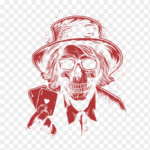 Illustration front view skull with hat lucky poker player on transparent background PNG
