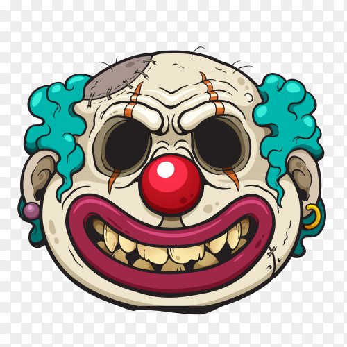 Illustration of Cartoon Clown Zombie face on transparent background PNG