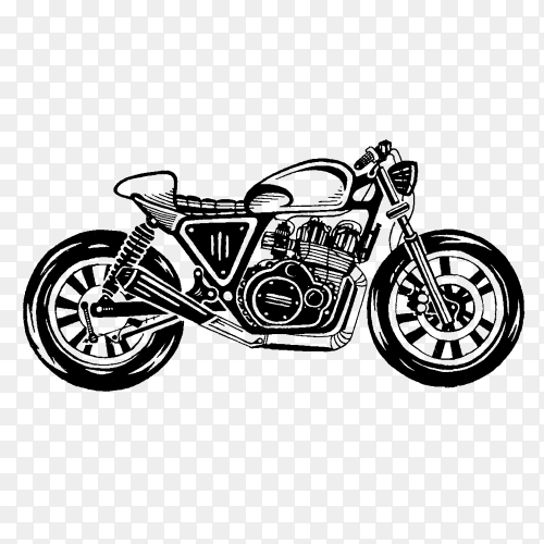 Illustration of classic motorcycle on transparent background PNG