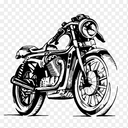Illustration of classic motorcycle premium vector PNG