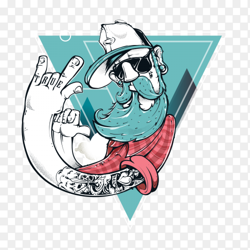 Illustration of hipster character on transparent background PNG