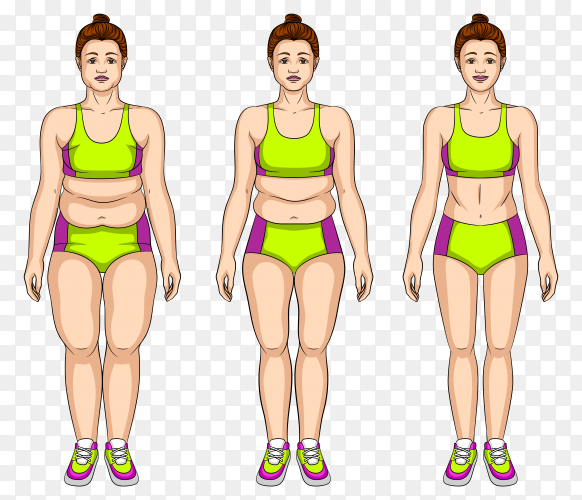 Illustration young woman before and after slimming vector PNG