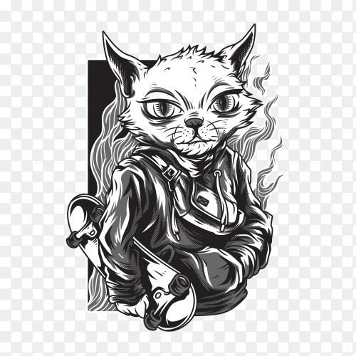 Independent cat black & white illustration Premium Vector PNG