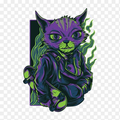 Independent cat illustration Premium Vector PNG