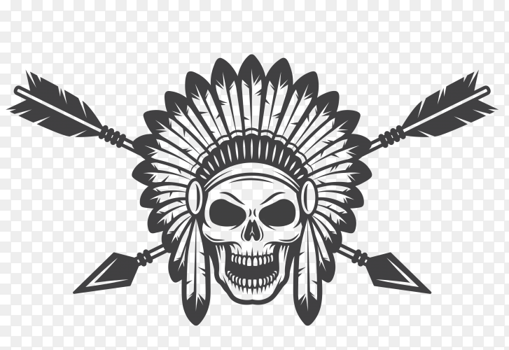 India skull illustration premium vector PNG