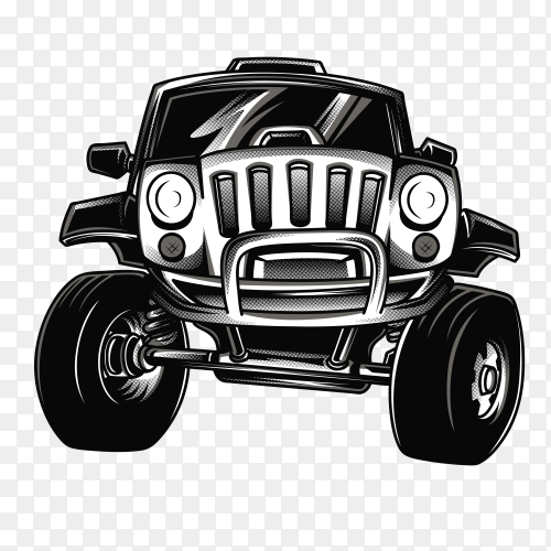Jeep race black and white car on transparent background PNG