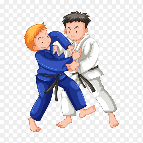 Karate fighters cartoon on transparent background PNG