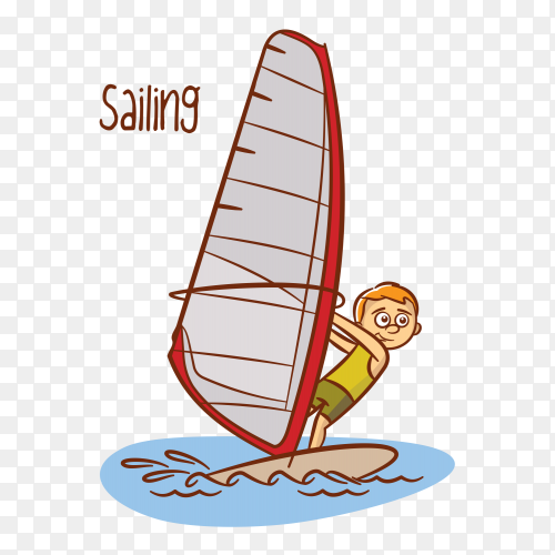 Kids sailing sport on transparent background PNG