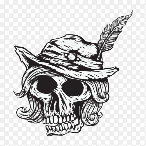 Lady skull head with hat on transparent background PNG