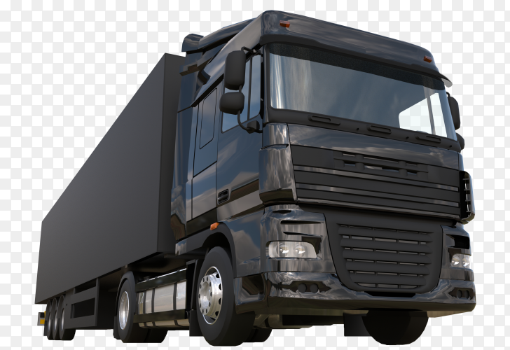Large black truck with semitrailer on transparent background PNG