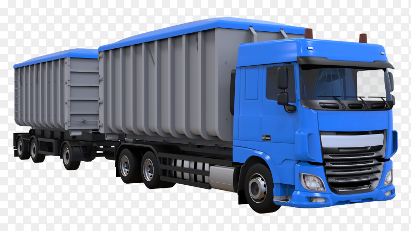 Large blue truck with separate trailer on transparent background PNG