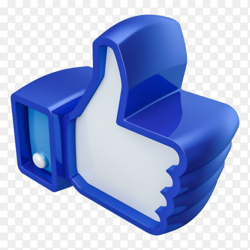 Like facebook 3D isolated on transparent background PNG