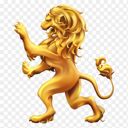 Lion golden heraldic on transparent background PNG