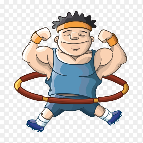 Man play hula hoop cartoon on transparent background PNG