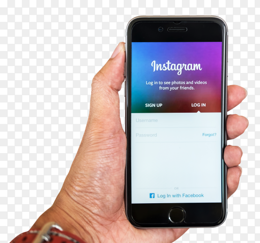 Man hand holding iphone with login screen instagram on transparent background PNG