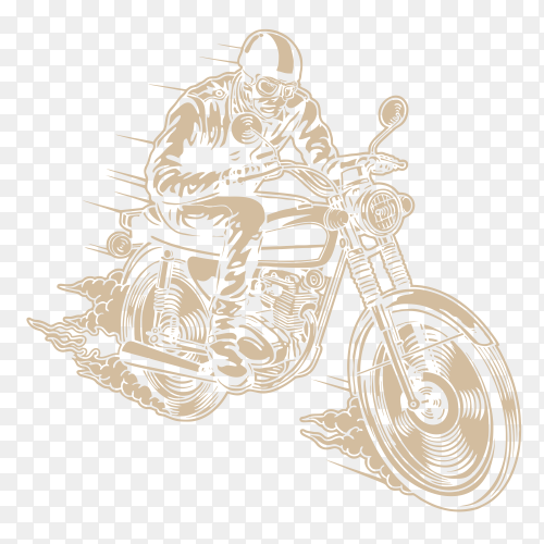 Man riding motorcycle illustration on transparent background PNG