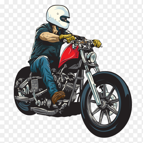 Man riding motorcycle on transparent background PNG