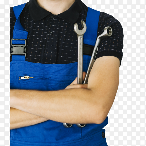 Man uniform with crossing hands with spanners on transparent background PNG