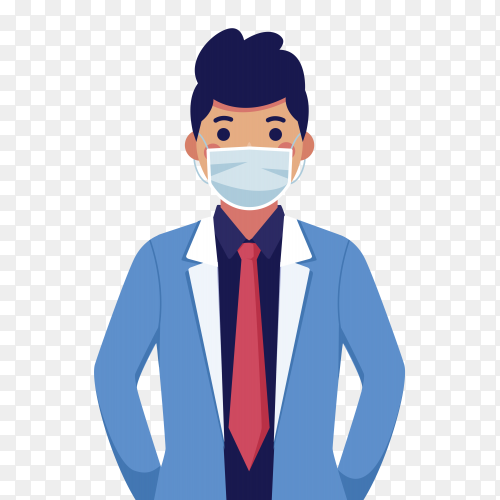 Man wear medical mask on transparent background PNG