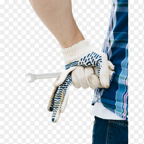Man wearing gloves holding wrench on transparent background PNG