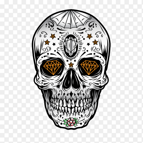 Mexican skull design on transparent background PNG