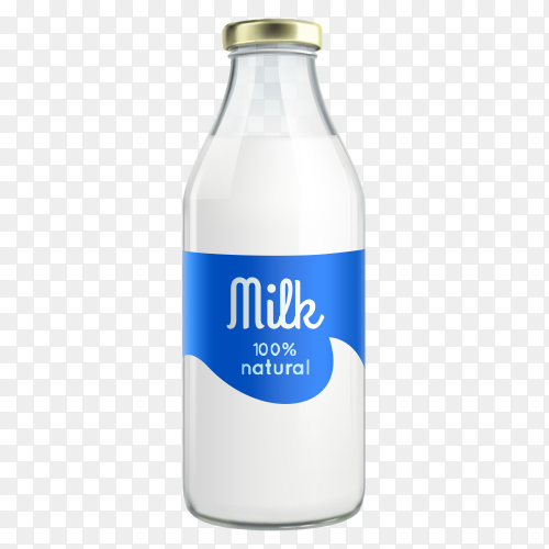 Milk bottle on transparent background PNG
