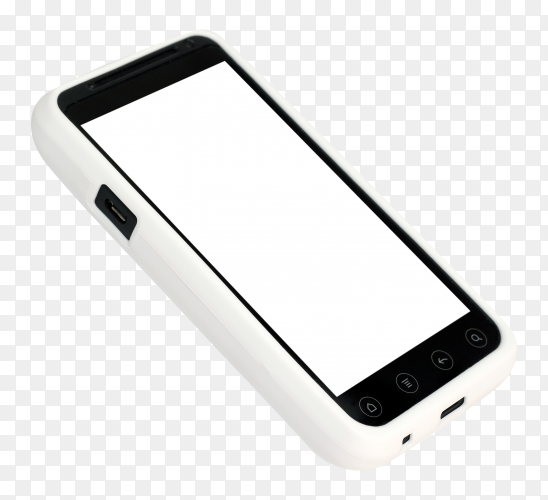 Mobile phone white cover with blank screen isolated on transparent background PNG