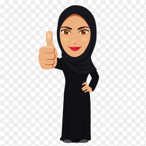 Modern arab woman character Premium vector PNG