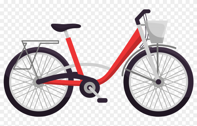 Modern red bicycle on transparent background PNG