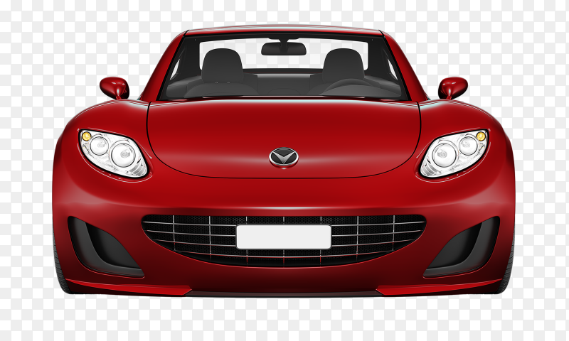 Modern red car on transparent background PNG