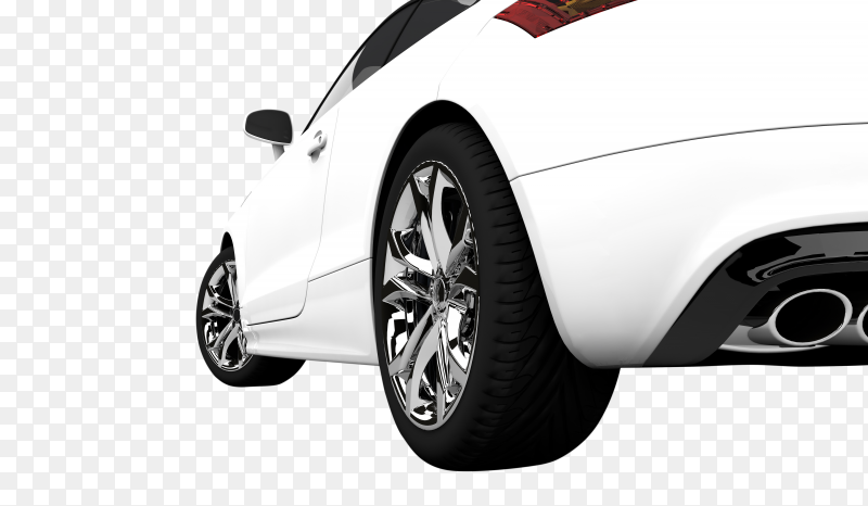 Modern white car on transparent background PNG