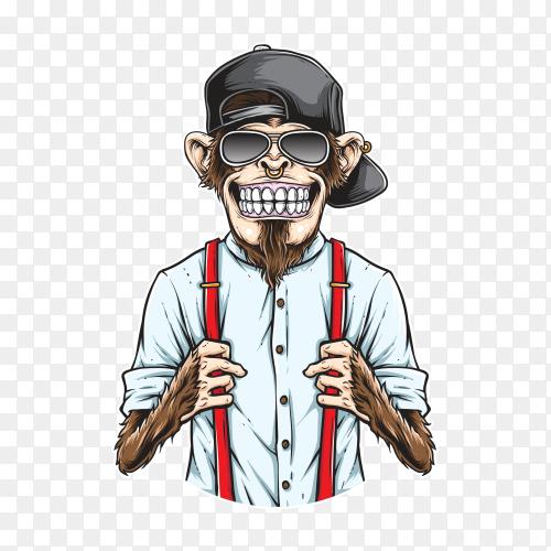 Monkey hipster Illustration on transparent background PNG