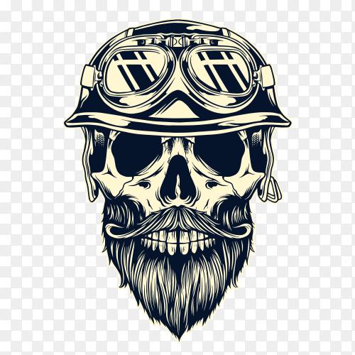 Monochrome vintage skull on transparent background PNG