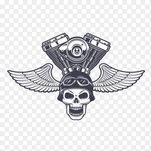 Monster engine with wings and skull design premium vector PNG